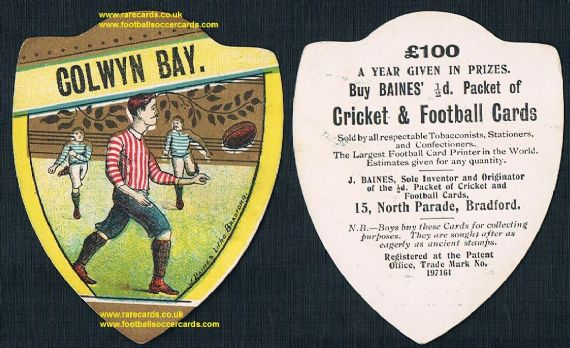 1900 Colwyn Bay Wales Baines shield-shape rugby card